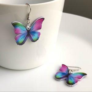 NEW Acrylic Purple Butterfly Earrings